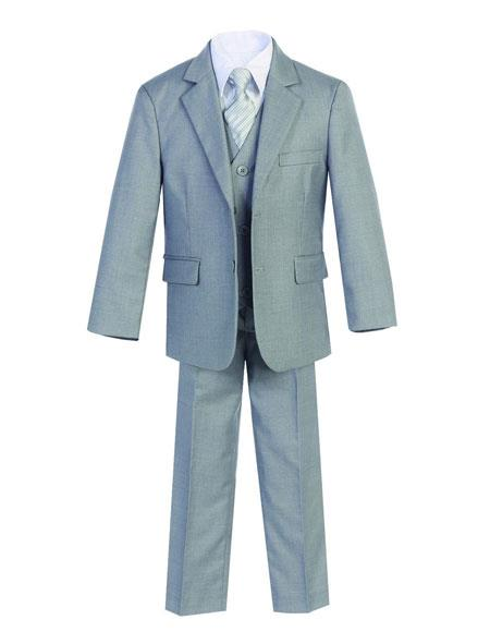 Kids Boys Two Buttons 5 Piece Set Cotton Blend Formal Light Gray Suit Perfect for wedding  attire outfits - Toddler Suit
