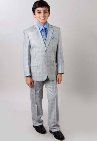 Boy's Subtle Plaid Light Gray Two Button 3 Piece Classic Vested Suit