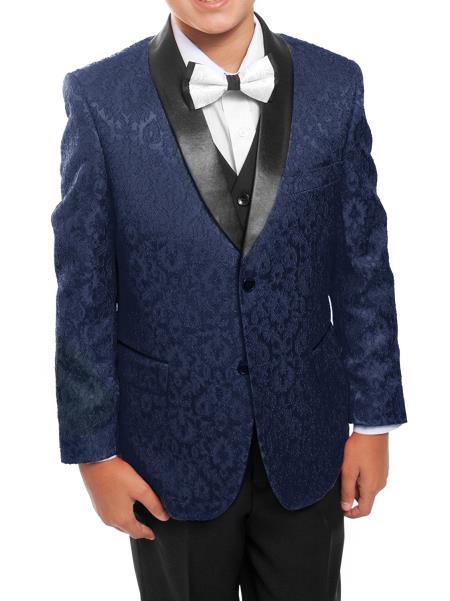 Boys 3 Piece Dark Navy/Black Satin Shawl Collar Floral Pattern Tuxedo Set With Free Matching Shirt & Bow Tie