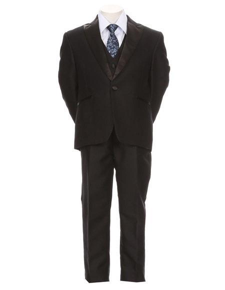 Boys Dark Navy Satin Peak Lapel Toddler Suit Kid Teen 5 Piece Formal Tuxedo Suit With Vest
