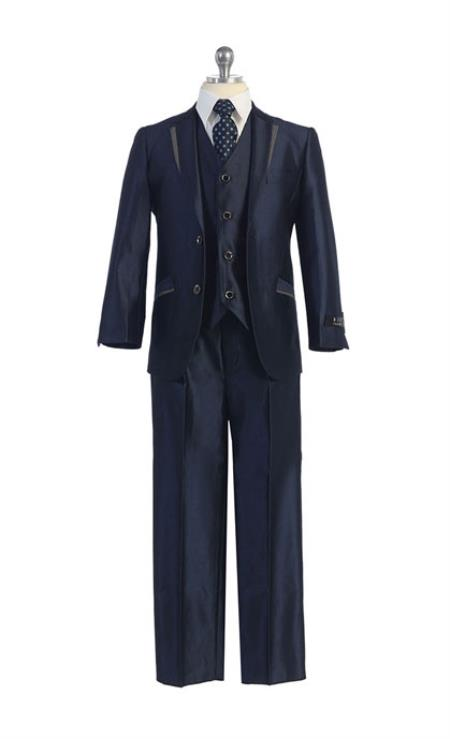 Boys Kids Sizes Tuxedo Suit Dark Navy Suit Perfect for toddler Suit wedding  attire outfits With Pant