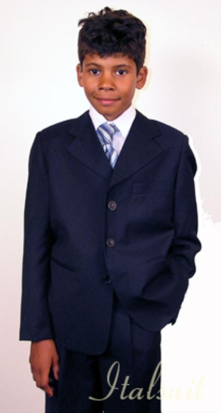 SKU#VR1998 Super 150s Italian super fine wool feel poly~rayon Navy Suit For Kids