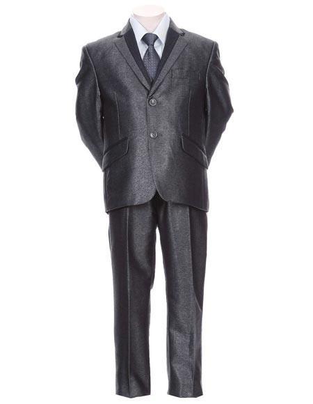 Boys Toddler Suit Kid Teen Trimmed  Formal 5 Piece Blue Tuxedo Dress Suit