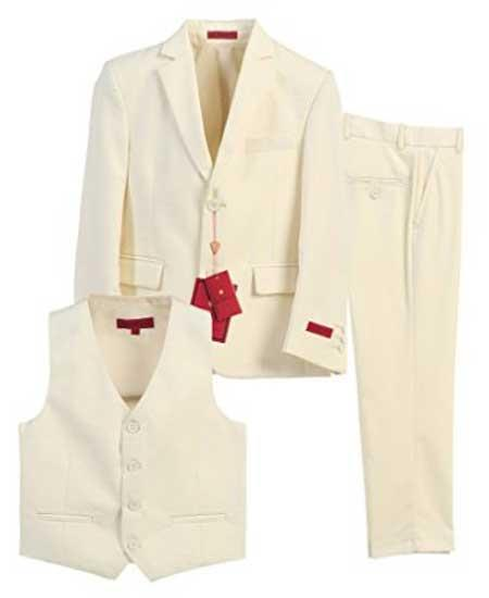 Vintage Style Children's Clothing: Girls, Boys, Baby, Toddler Boys Formal 3 Piece Notch Lapel Off White Vested Suit With Pants Set $89.00 AT vintagedancer.com