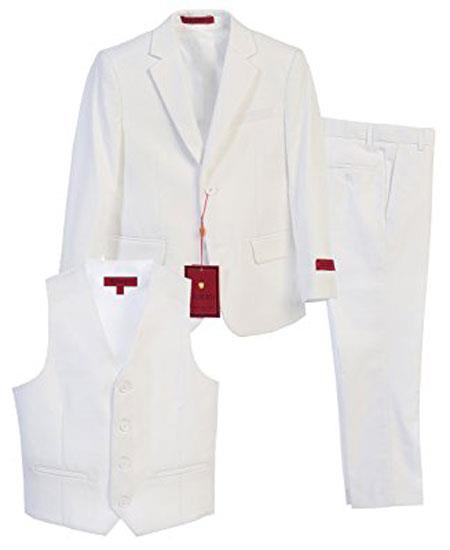 Boys White Notch Lapel 3 Piece Vested Formal Suit With Pants Set