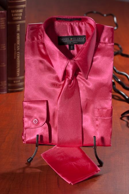 SKU#YUT222 Boys Hot Pink Satin Dress Shirt Combo