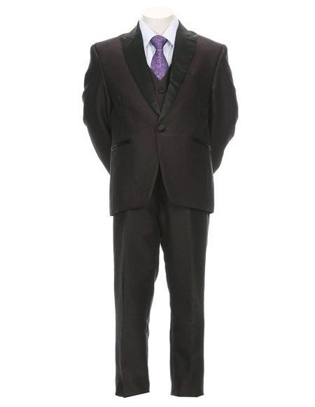 Buy SM3294 Boy's Toddler Teen 5 Piece Satin Peak Lapel Tuxedo Formal Vested Dress Suit Plum