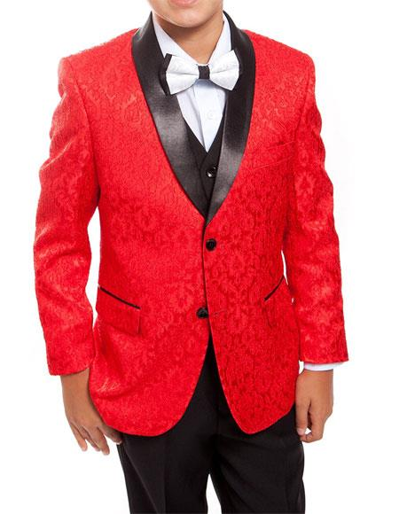 Men's Red/Black Satin Shawl Collar Matching Shirt & Bow Tie