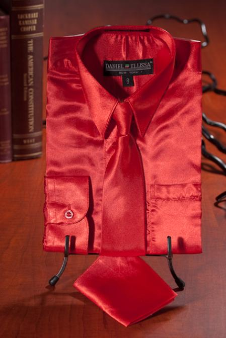Boys Red Satin Combo Men's Dress Shirt