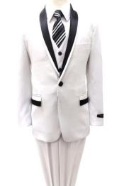 Boys Shawl Collar Tuxedo Kids Sizes 3 Piece Two Tone White with Black Gorgeous Stunning Suit Perfect for toddler Suit wedding  attire outfits