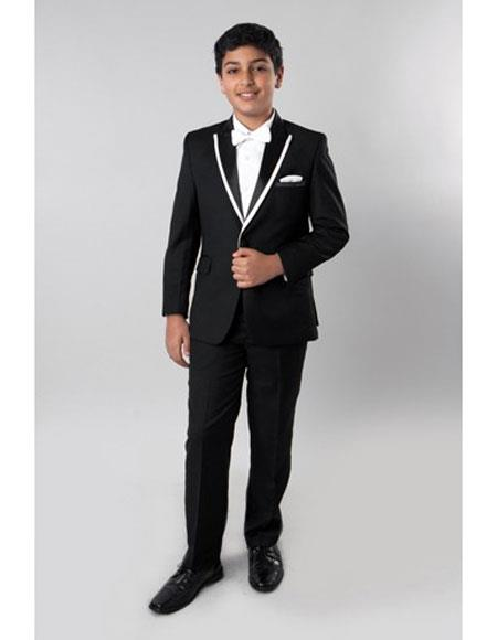 Boy's Kids Sizes 2 Piece Black Tuxedo - Satin Lapel with Fabric Trim Perfect for toddler Suit  wedding  attire outfits