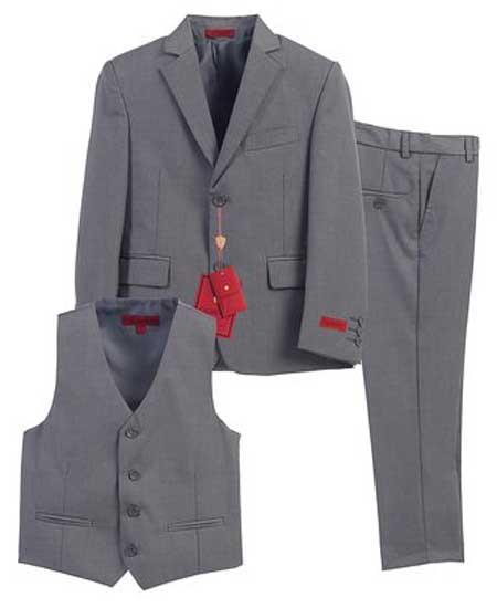Boys Formal Gray 3 Piece Notch Lapel Single Breasted Vest Suit With Pants Set