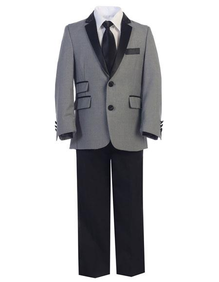 SKU#CH271 Boys Gray ~ Grey and Black Lapel Kids Toddler Suits (Tuxedo Looking)