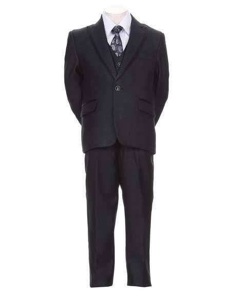 Boys 5 Piece Toddler Kid Teen Trimmed Peak Lapel Formal Tuxedo Dark Navy Dress Suit