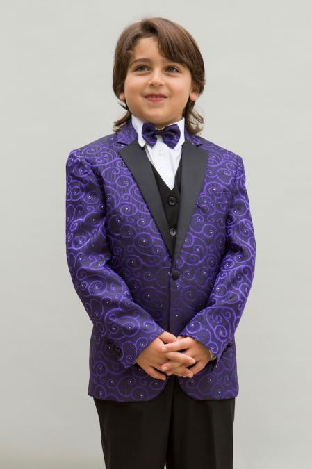 Purple Colored Notch Lapel Boys Blazer