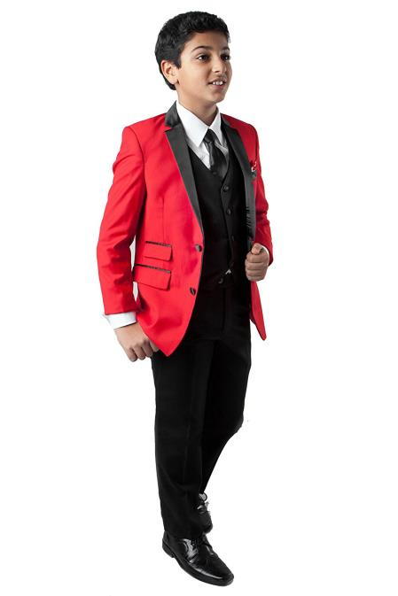 Boys Two Button Red Tuxedo Suits 5 Piece Vest,Shirt,Tie and Hanker