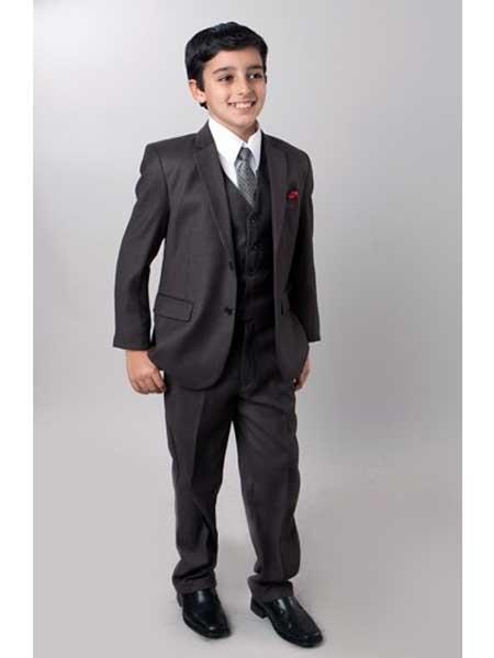 Boys Dark Slate 5 Piece Notch Lapel Kids Sizes Single Breasted Suit Perfect For boys wedding outfits With Tone On Tone Pinstripe