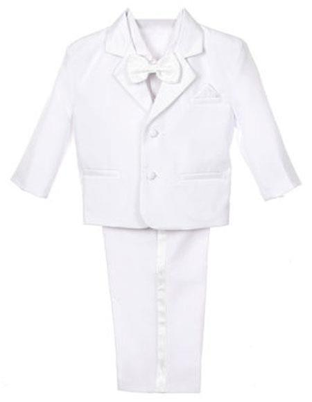 Buy SM3288 Boy's 5 Piece Set Notch Lapel Formal Tuxedo Vest Bow Tie Dress Suit White