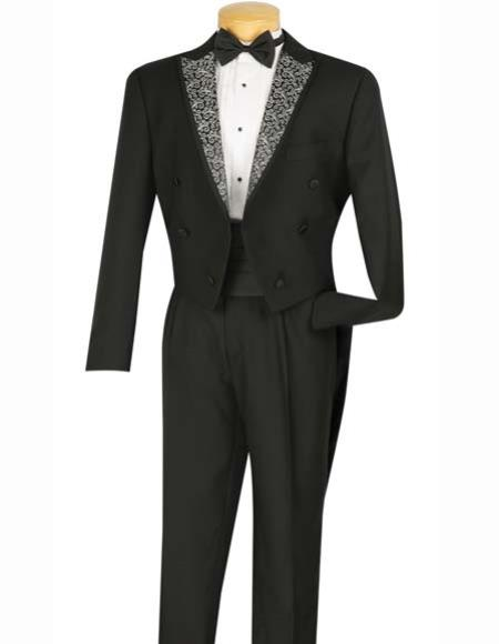 Buy SM2908 Boy's Black Fancy Peak Lapel 6 Button Tuxedo Tails Cummerbund,Shirt & Bow Tie