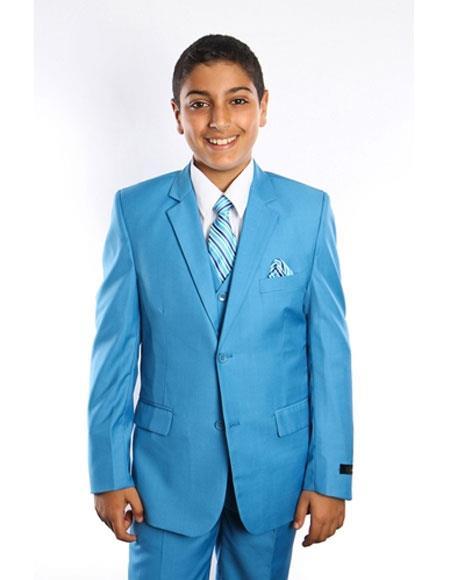 Boy s Kids Toddler Suit Fashion Color Sky Blue  Powder Suits