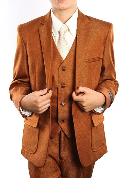 Boy's Solid Rust Three Piece Notch Lapel Tuxedo Set With Free Matching Shirt & Tie
