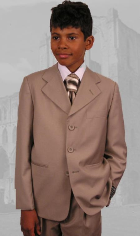 SKU:SKU43145 B-100 Tan ~ Beige Boys Dress Suit Hand Made
