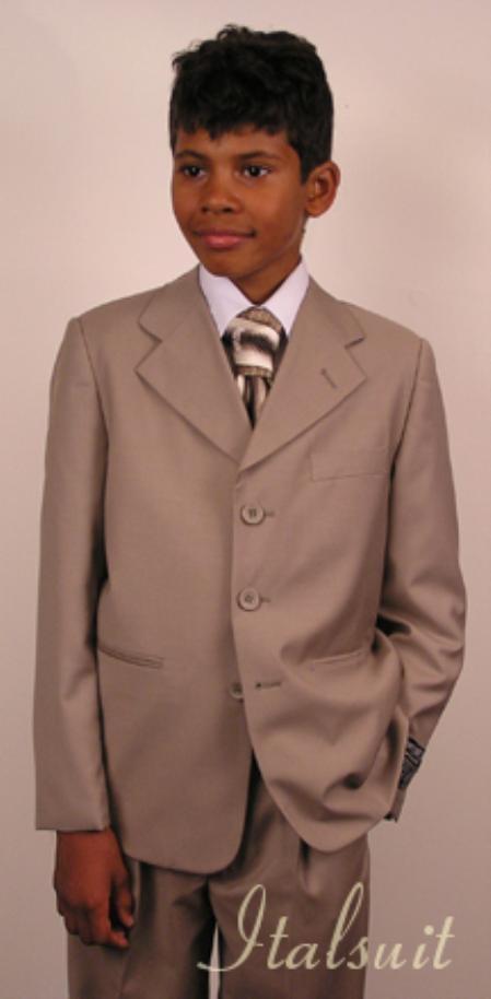 Men's Tan ~ Beige wool Suit Prefect wedding attire
