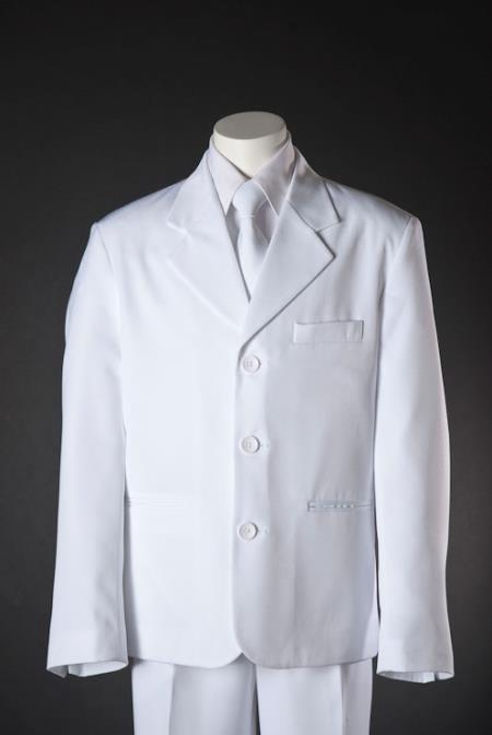 Boys 3 Button White HuLight Blue ~ Sky 5 Piece Suit