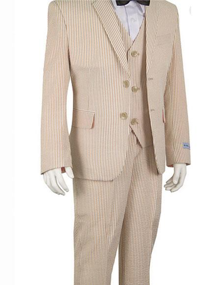 SKU#CH1972 Seersucker Beige Suits Stripe ~ Pinstripe Boys ~ Children ~ Kids Suit