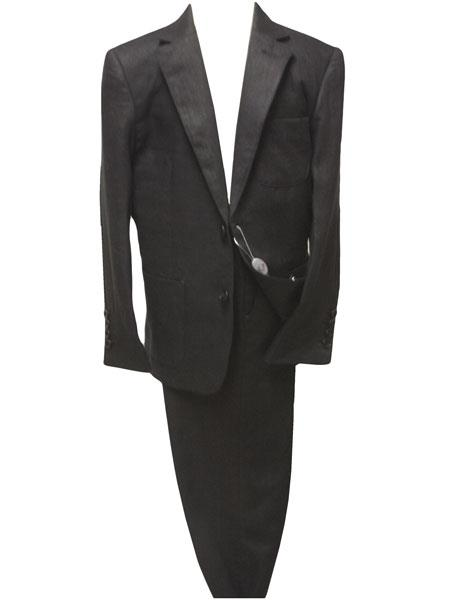 Boys 2 Button Linen Black  Suit