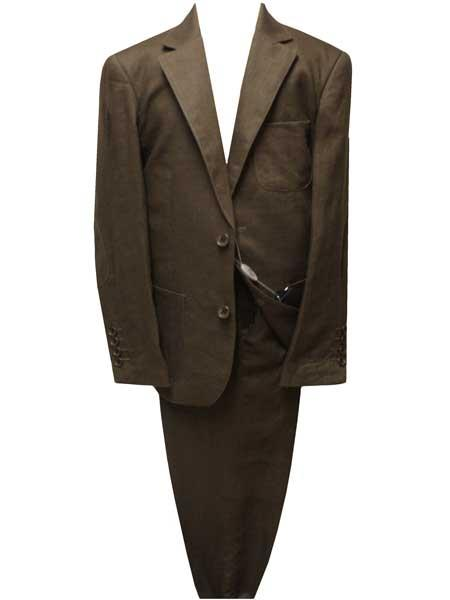 Boys 2 Button Notch Lapel Brown Linen Single Breasted Suit