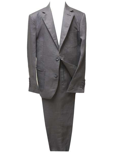 Boys Linen Notch Lapel 2 Button Single Breasted Dark Gray ~ Grey Suit
