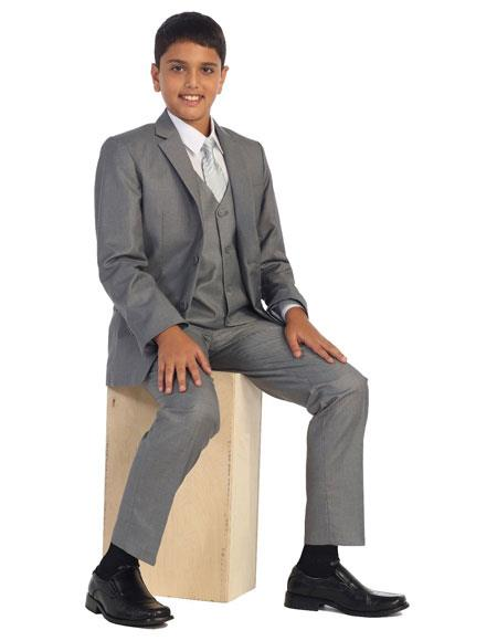 Kids Boy's Two Buttons 5 Piece Set Gray Cotton Blend Formal Suit Perfect for wedding  attire outfits - Toddler Suit
