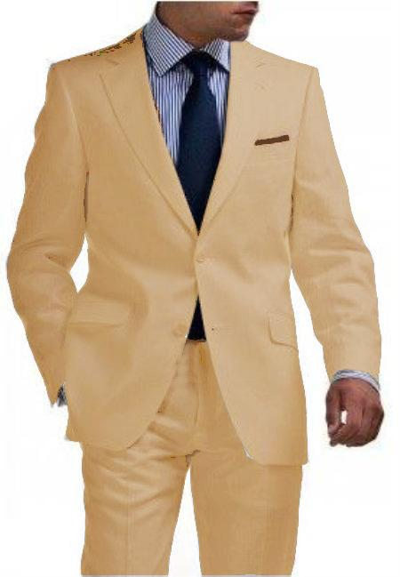SKU#WTX_Linen-2BV Mens & Boys Sizes Light Weight 2 Button Tapered Cut Half Lined Flat Front Linen Khaki Suit Vented Sand