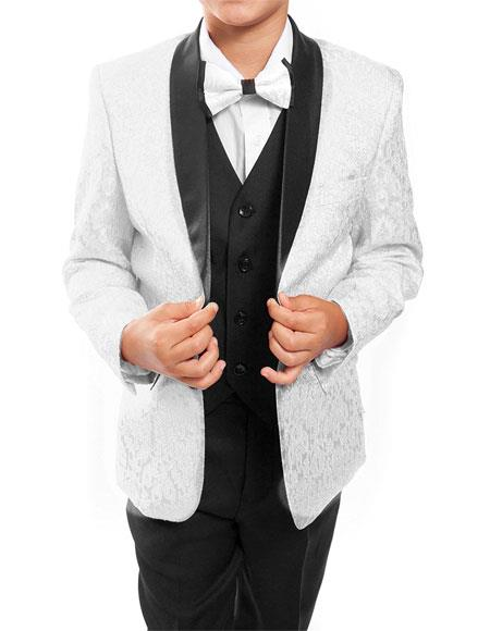 Kids ~ Children ~ Boys ~ Toddler Kids Sizes Tuxedo Vested Suit Perfect for toddler Suit wedding  attire outfits White/Black