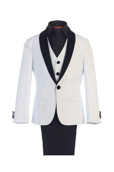 White Boy's Kids Sizes Classic Fit 1 Button Suede Shawl Suit Perfect for toddler Suit wedding  attire outfits