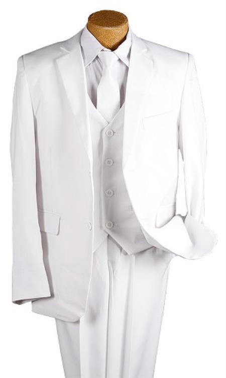 Boy's White 5 Piece Kids Sizes 2 Button Suit Prefect for toddler wedding  attire outfits - White