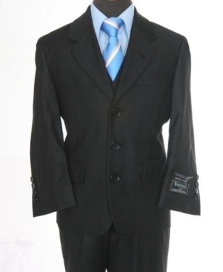 SKU#PQ3900 Boys 3 piece 3 Button Suit Black $99