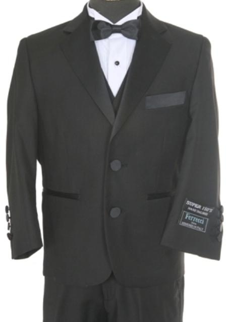 SKU#GP2380 Boys 3 piece 2 Button Tuxedo Black