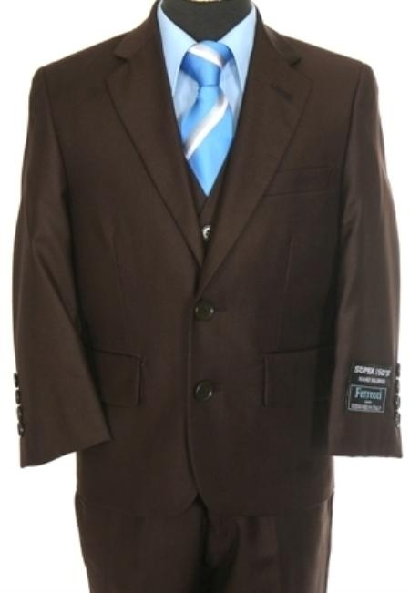 SKU#QM5722 Boys 3 piece 2 Button Suit Brown $139