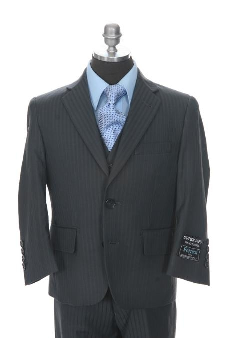 SKU#TD4334 Boys Formal 3 piece 2 Buttoned Suit Grey $139