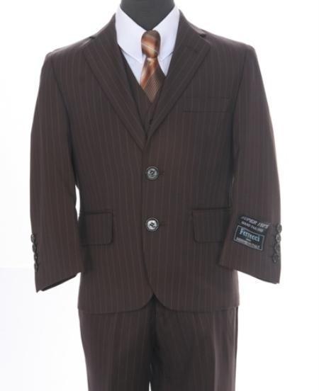 SKU#VG9082 Boys Formal 3 piece 2 Button Suit Brown or Black