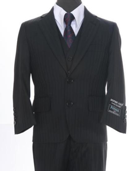 SKU#WN0973 Boys Formal 3 piece 2 Buttoned Suit Black