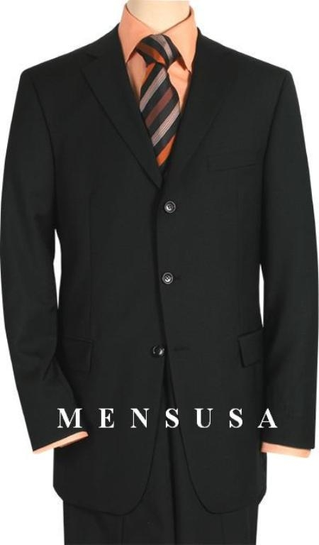 SKU# XRJ264 Brand Name HardWick Solid Black Comes in 2 or 3 Button Wool Suit Pleated or Flat Front Pants $199