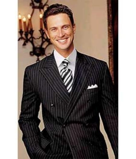 SKU# DBW89 Brand New SUPER Wool Black Pinstripe Double Breasted Our Price