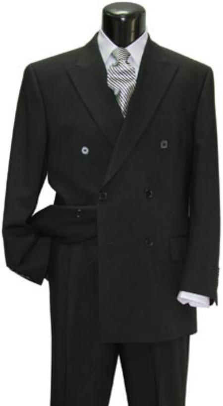 SKU# DBW1 Brand New Solid Black Double Breasted Suit