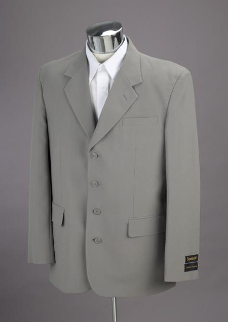 SKU# BNL327 Brand New Light Gray 4 Buttons Mens Suit $99