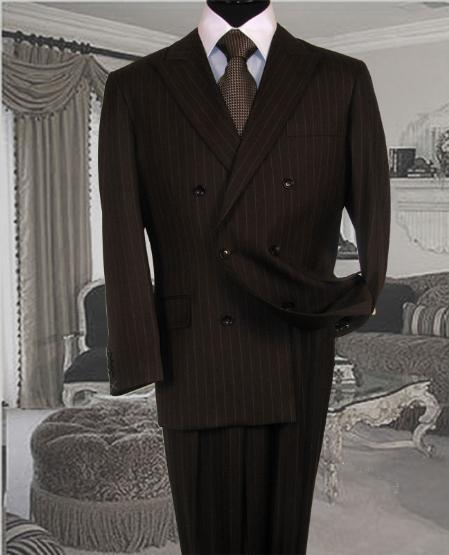 SKU#ZT181 Brand New chocolate Brown Pinstripe Double Breasted Super 120s Wool Feel Poly~Rayon Soft Durable Fabric Double Vented $179