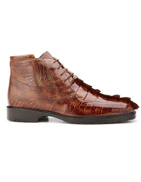 Mens Genuine Hornback and Genuine Ostrich Lace Up Style Authentic Genuine Skin Italian Boot Brandy