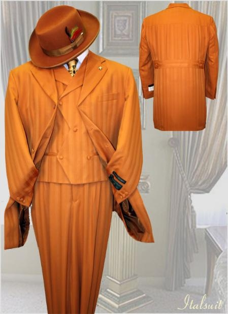 SKU#PD900 Brick Mens Fashion Tone on Tone Pattern Suit 3PC With Vest & Wide Leg Pants $299
